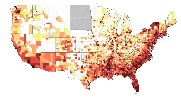 Map shows the 2010 rate of adults/adolescents living with an HIV or AIDS diagnosis per 100,000 population.   See AIDSVu.org for more information.